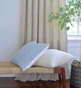 Willow Bloom Linen Sand Drapes Alcott Pillow Amala Blueridge Pillow