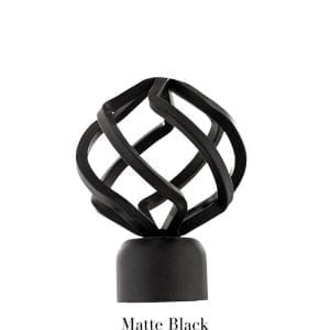 Willow Bloom Finial-BirdCage-Matte Black