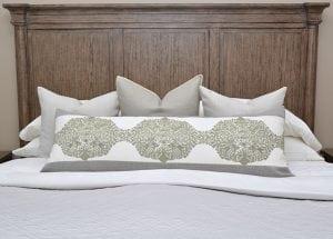 Willow Bloom Grain Sage Green Lumbar Pillow Dusty Pillow Aluminum Whipstitch Pillow