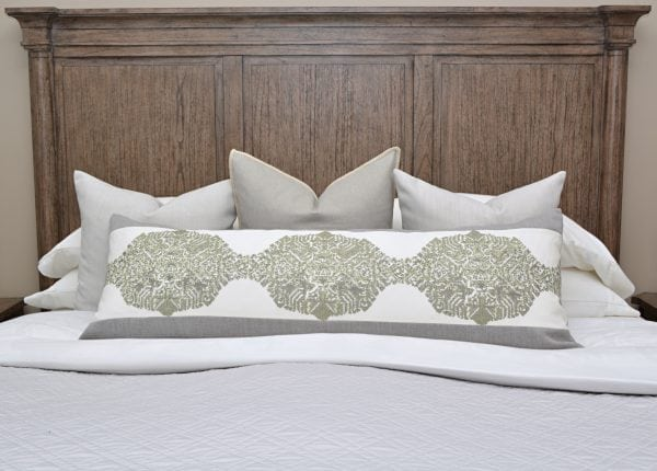 Willow Bloom Grain Sage Green Lumbar Pillow Dusty Pillow Aluminum Whipstitch Pillow