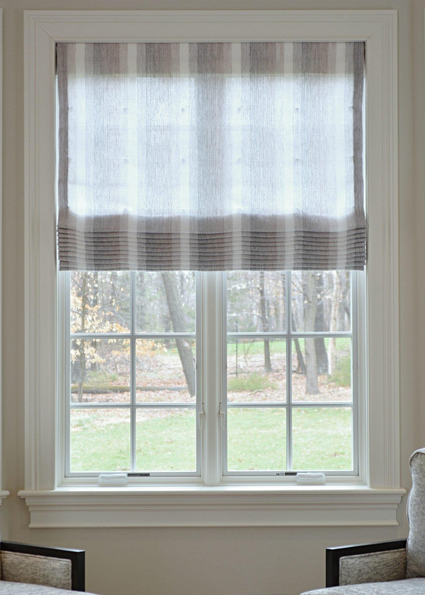 munro grey roman shade willowbloomhome. Black Bedroom Furniture Sets. Home Design Ideas