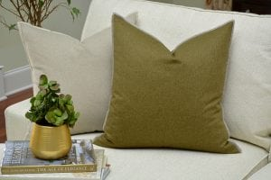 Willow Bloom Sage Whipstitch Pillow Linen Whipstitch Pillow