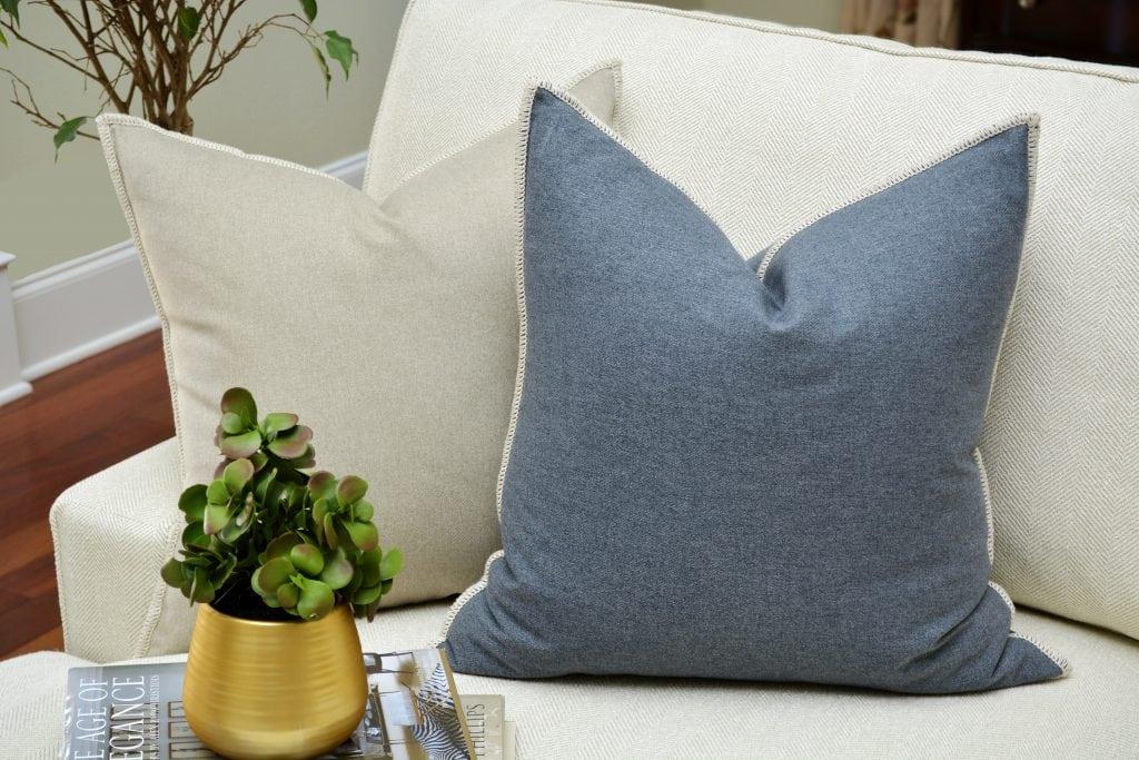 Willow Bloom Denim Whipstitch Pillow Linen Whipstitch Pillow