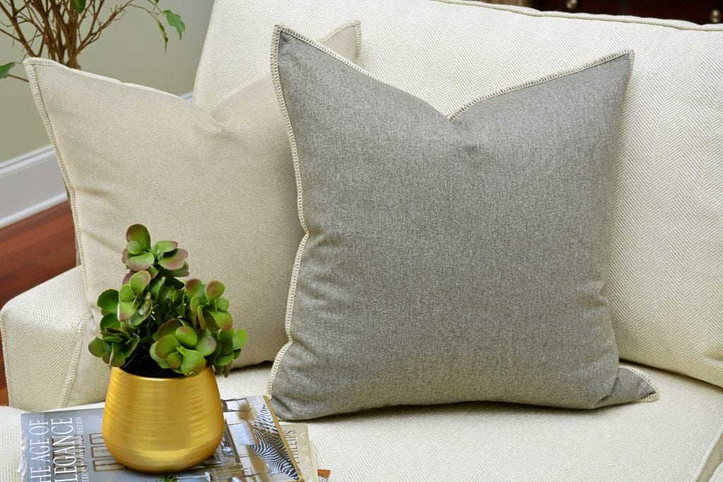 Willow Bloom Aluminum Whipstitch Pillow Linen Whipstitch Pillow