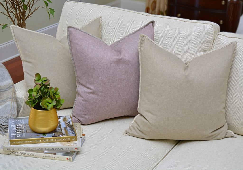 Willow Bloom Linen Whipstitch Pillow Crystal Whipstitch Pillow