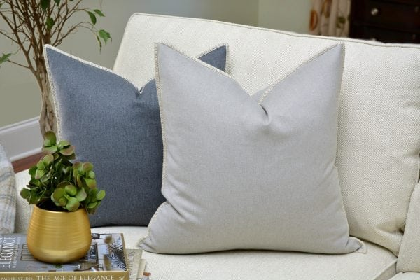 Willow Bloom Silver Whipstitch Pillow Denim Whipstitch Pillow