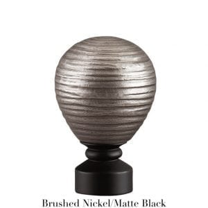 Willow Bloom Contour Striated Ball - Brushed Nickel:Matte Balck
