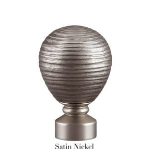 Willow Bloom Contour Striated Ball - Satin Nickel