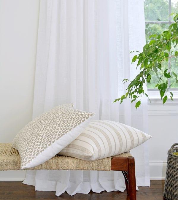 Willow Bloom Home Sheer Crisp White Drapes Amala Driftwood Pillow Monelo Pillow