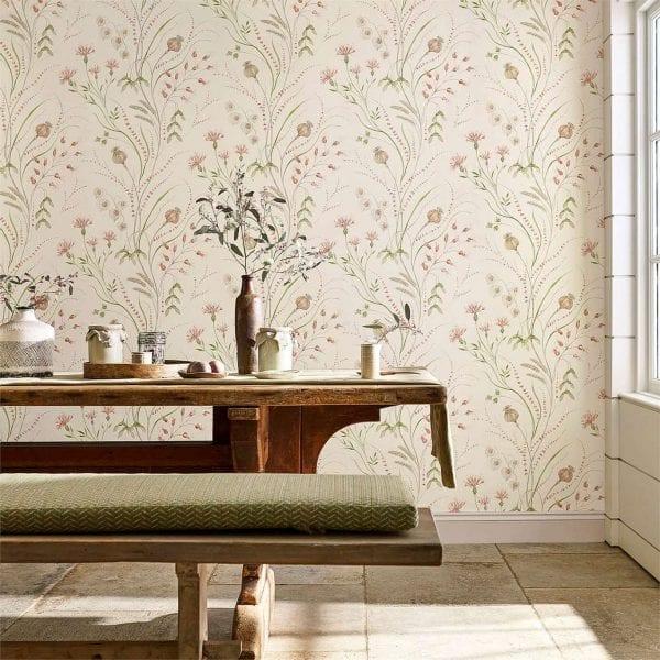 Willow Bloom Home Harvest Claret:Olive Wallpaper