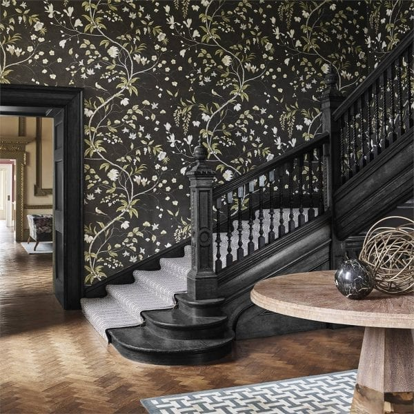 Willow Bloom Home Chambalon Antique Gold:Vine Black Wallpaper