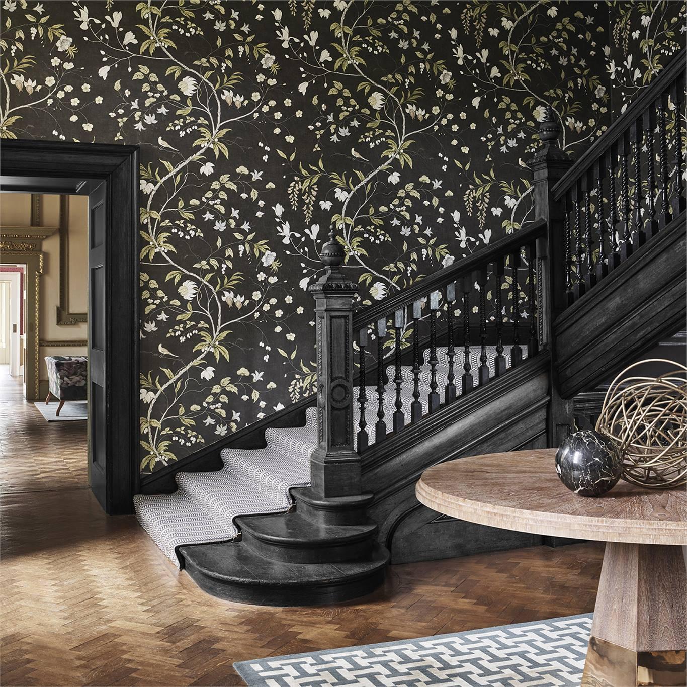 Willow Bloom Home Chambalon Antique Gold:Vine Black Wallpaper